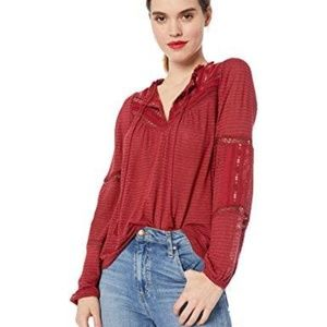 Lucky Brand Women'S Embroidered Peasant Top Red M